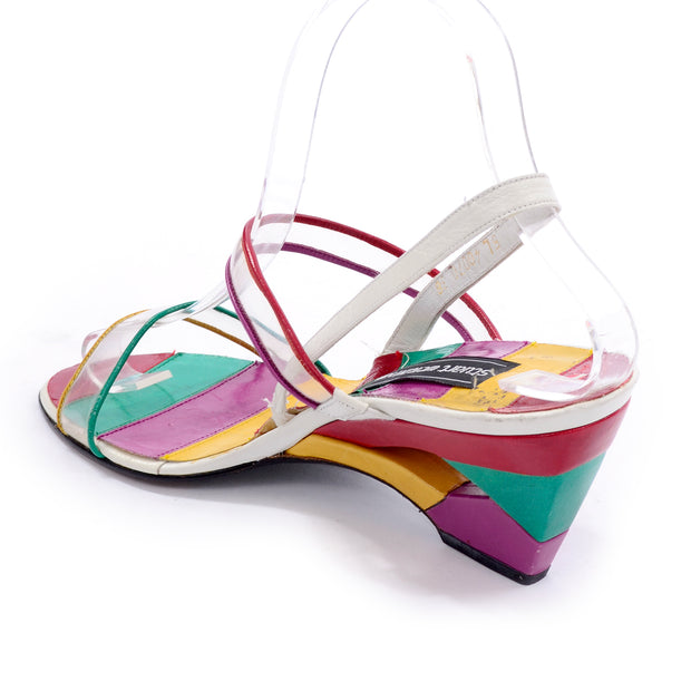 Purple, Green, Red, Yellow and White Stuart Weitzman patchwork leather wedge heels