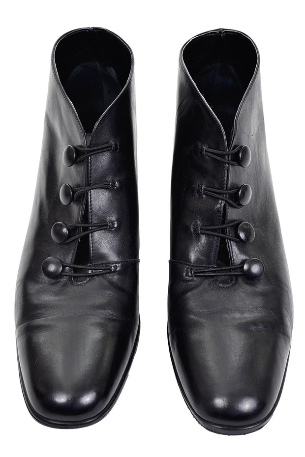 1980s or 1990s black leather ankle boots