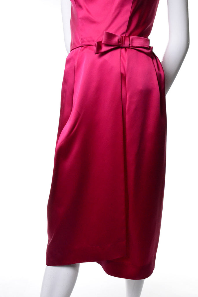 1960s Raspberry Pink Satin Vintage Dress