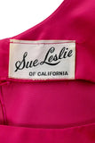 Label for Sue Leslie of California 1960s Raspberry Pink Satin Cocktail Dress