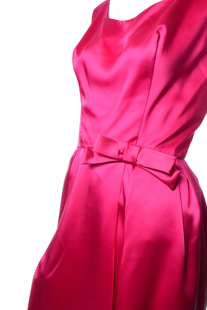 1960s Raspberry Pink Satin Cocktail Dress with Bow