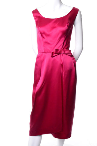 Sue Leslie 1960s Raspberry Pink Satin Cocktail Dress