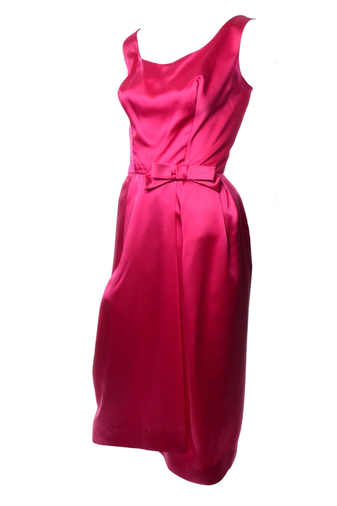 1960s Raspberry Pink Satin Cocktail Dress