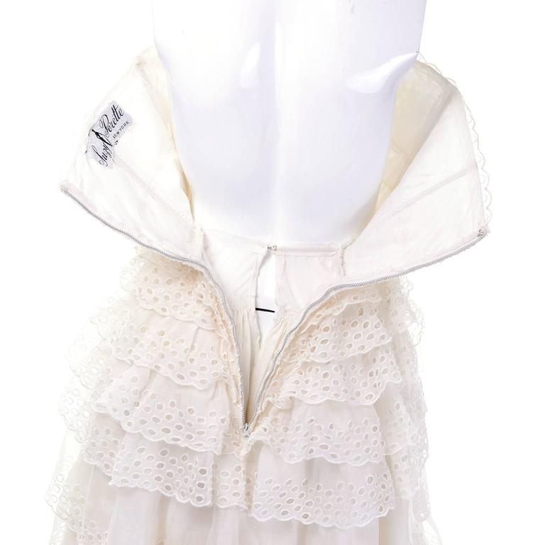 Suzy Perette white strapless vintage sundress ruffled