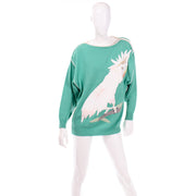 Rare Vintage Szato Japan Vintage Green Knit Sweater w Leather Cockatiel Bird