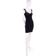 1980s Tadashi Shoji vintage bodycon dress with gold star studs