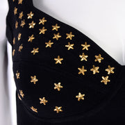 Versace Style Tadashi Shoji vintage bodycon dress with gold star studs