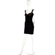 Tadashi Shoji vintage bodycon black dress with gold star studs