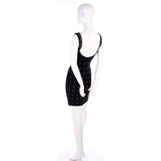 Tadashi Shoji vintage bodycon stretch black dress w gold star studs