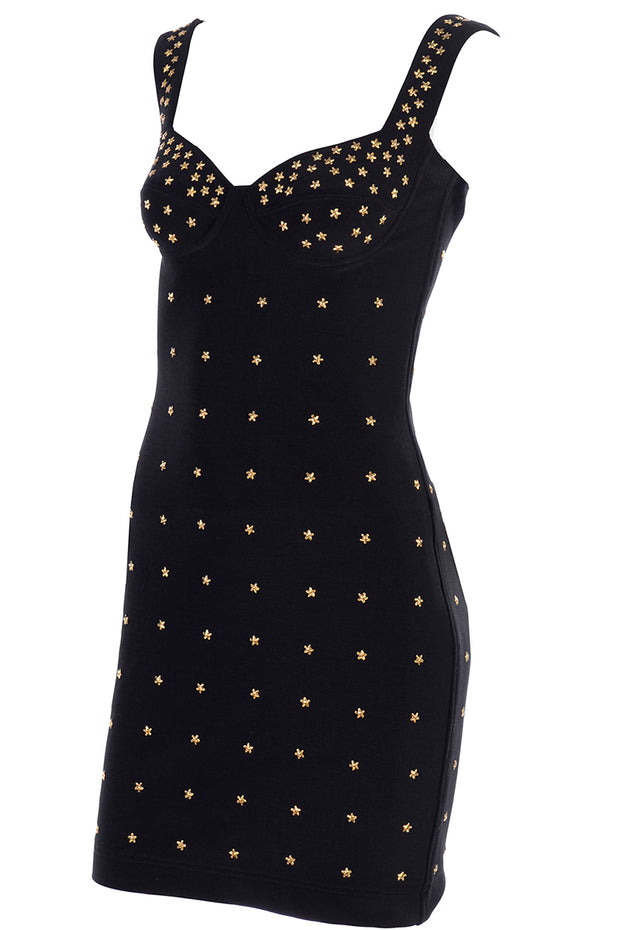 Tadashi Shoji vintage bodycon dress with gold star studs