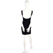 Black Stretch Tadashi Shoji vintage bodycon dress w gold star studs