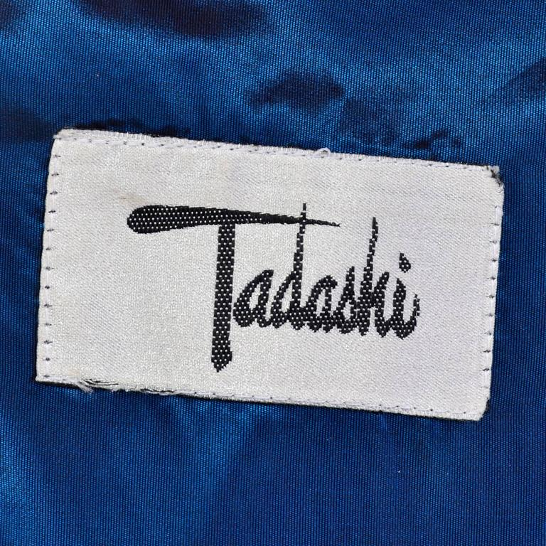 Tadashi Vintage Dress Blue Satin  1980s