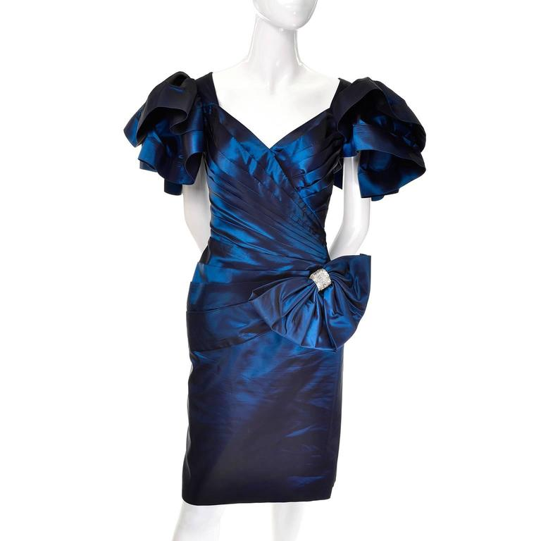 Satin Tadashi Vintage Dress Blue 1980s