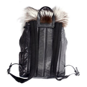 Luxury designer backpack black leather and fur Tanner Krolle
