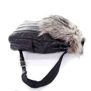 Tanner Krolle black leather backpack with fur flap