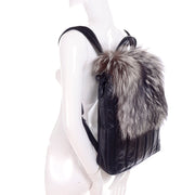 Tanner Krolle black leather backpack with fox fur