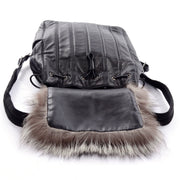 Tanner Krolle black leather and fur drawstring backpack