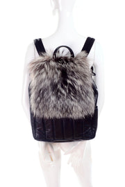 Tanner Krolle Black Leather Backpack Fox Fur Flap