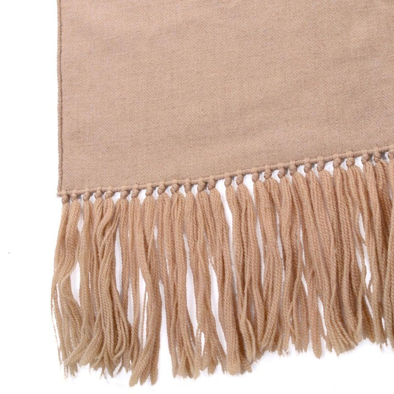 Vintage camel tan wool scarf with tassels