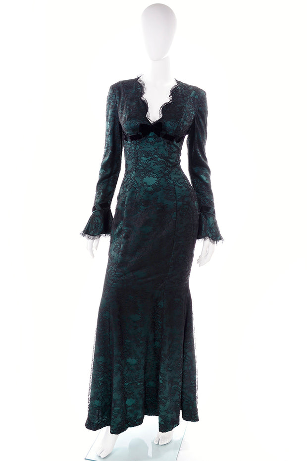 Vintage Emerald Green Thierry Mugler Evening Gown