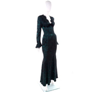 Green and Black Thierry Mugler Vintage Evening Gown Dress