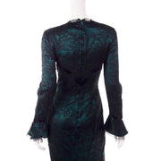 Vintage Thierry Mugler Green Silk Trumpet Evening Dress W Black Velvet Lace