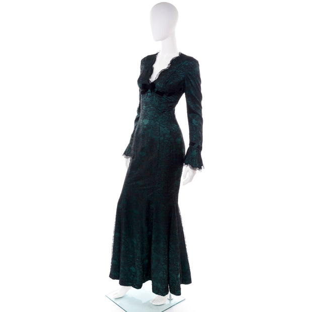 Vintage Thierry Mugler Lace Trumpet Evening Gown