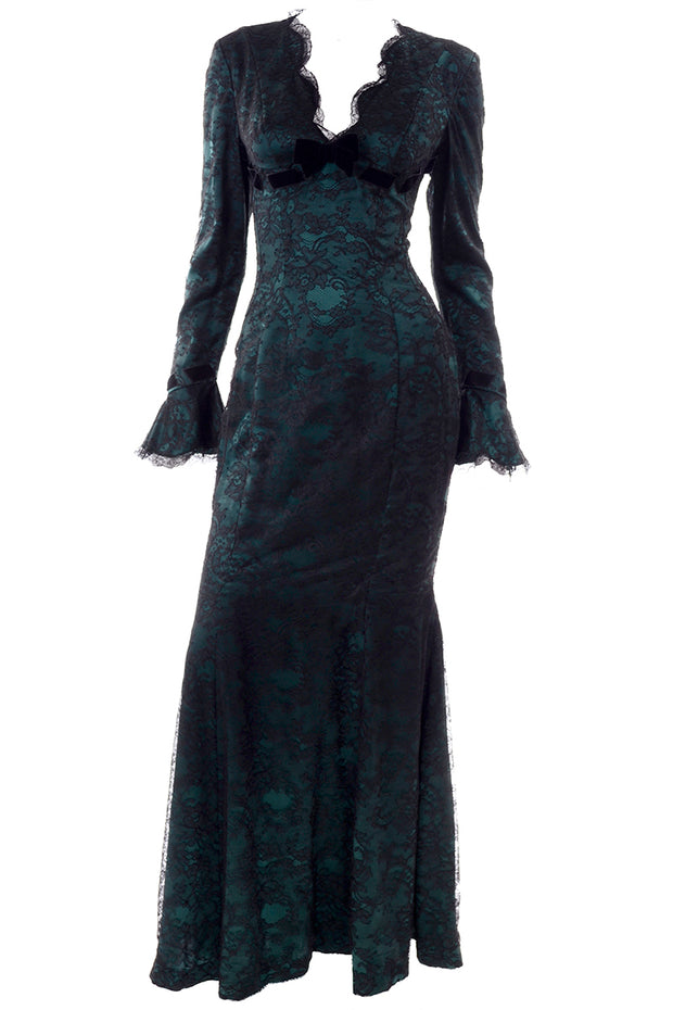 Thierry Mugler Trumpet Dress w/ Lace and Velvet Bow