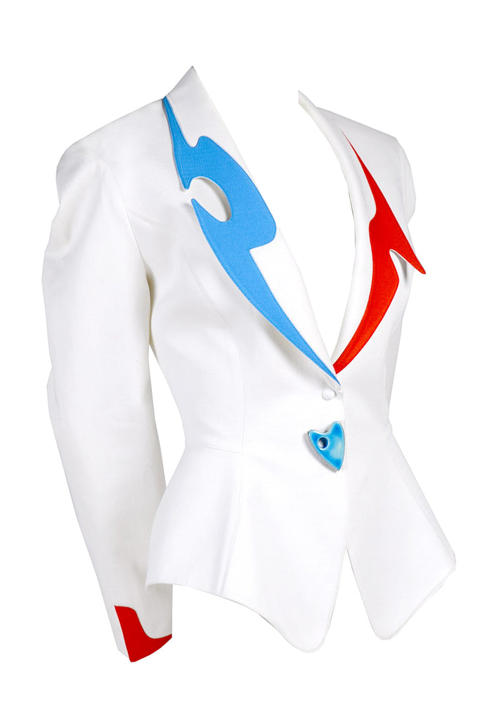 Color Block 1980s Thierry Mugler Blazer Jacket In White Pique Cotton