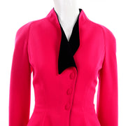 80s Vintage Thierry Mugler Paris Skirt Jacket Suit in Red