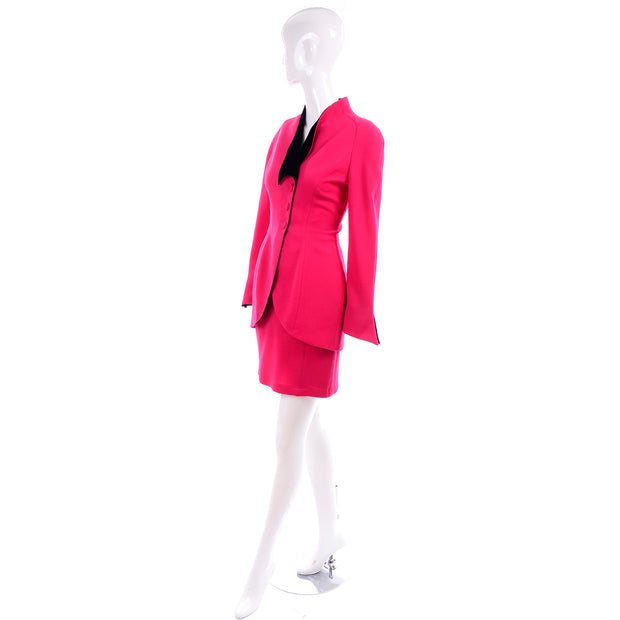 Vintage Thierry Mugler Paris Skirt Jacket Suit in Red & Black