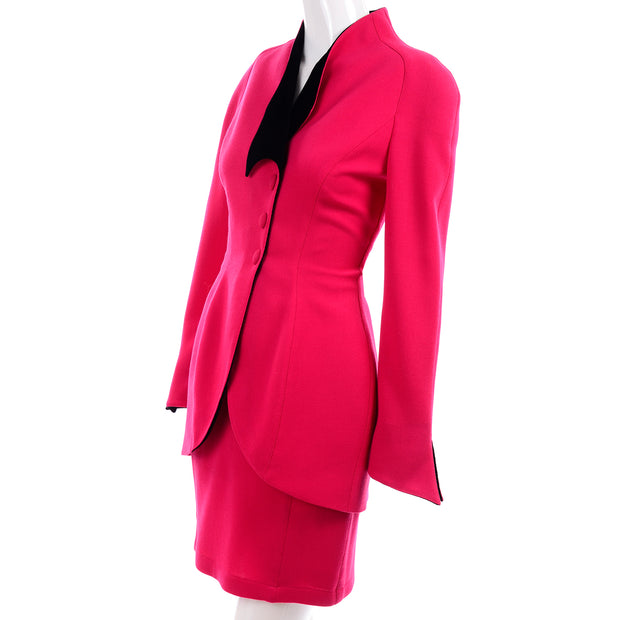 Vintage Thierry Mugler Paris Skirt Jacket Suit in Red w Black