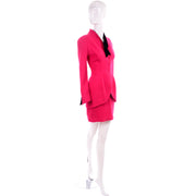 Vintage Thierry Mugler Paris Skirt Jacket Suit in Red 1980s