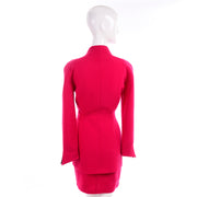 Vintage Thierry Mugler Paris Skirt Jacket Suit in Red w Black Trim
