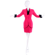 Vintage Thierry Mugler Paris Skirt Jacket Suit in Red