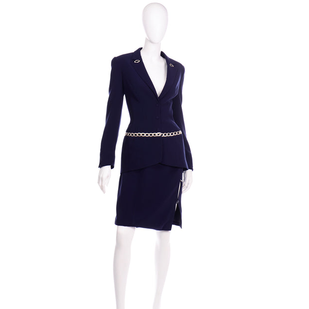 Vintage Navy Blue Thierry Mugler Skirt JAcket Suit with Chain Detail M