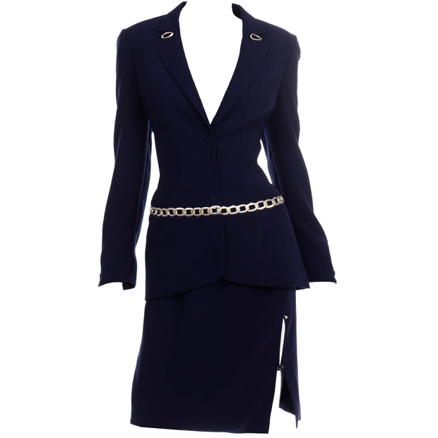 Thierry Mugler Vintage Navy Blue Skirt Suit w Chain Jacket