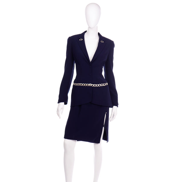 Vintage Navy Blue Thierry Mugler Skirt JAcket Suit with Chain Detail