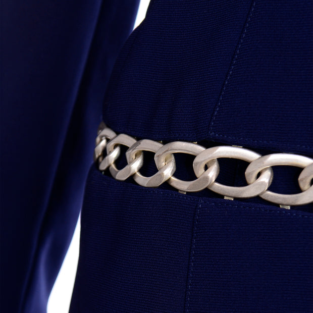 Vintage Navy Blue Thierry Mugler Skirt JAcket Suit with Chain Detail  on Jacket