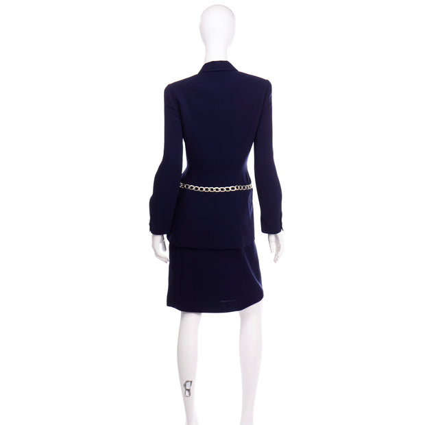 Vintage Navy Blue Thierry Mugler Skirt JAcket Suit with Chain Detail size Medium