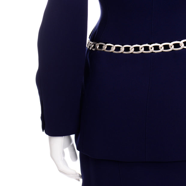 Vintage Navy Blue Thierry Mugler Skirt JAcket Suit with Silver Chain Link Detail