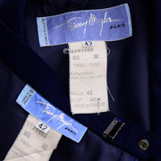 Vintage Navy Blue Thierry Mugler Paris Skirt JAcket Suit with Chain Detail