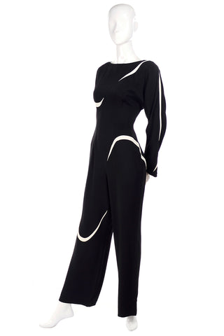 Thierry Mugler Black Jumpsuit w/ White Abstract Swirls Size 6
