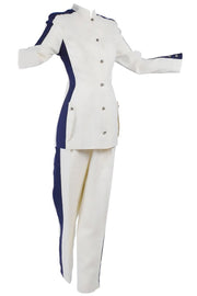 Linen pant suit from the 1980's by Thierry Mugler