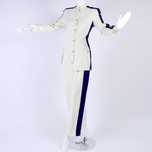 White linen Thierry Mugler pant suit with navy stripe on side