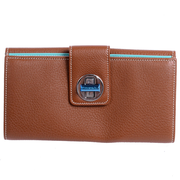 Tiffanys brown leather wallet with turn lock closure