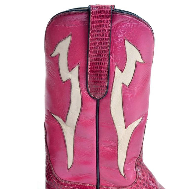 Detail Pink and White Cowgirl Boots