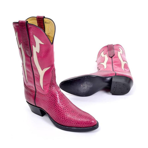 Narrow 8.5 Pink Leather & Snakeskin Cowgirl Boots
