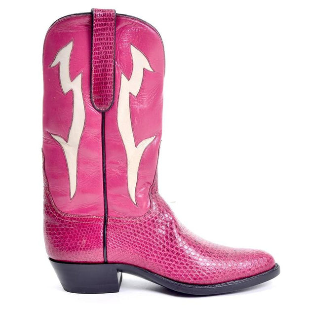 82f8b960c5a78 Tom Taylor Vintage Pink Leather   Pink Snakeskin Cowgirl Boots Narrow –  Dressing Vintage