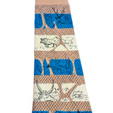 1950's vintage tie with bison, steer, fox, owls, line drawn animals by Tina Leser in stripes of cream and teal